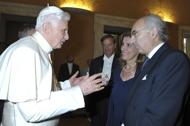 File photo of Pope Benedict XVI talking to the head of the Vatican bank Ettore Gotti Tedeschi